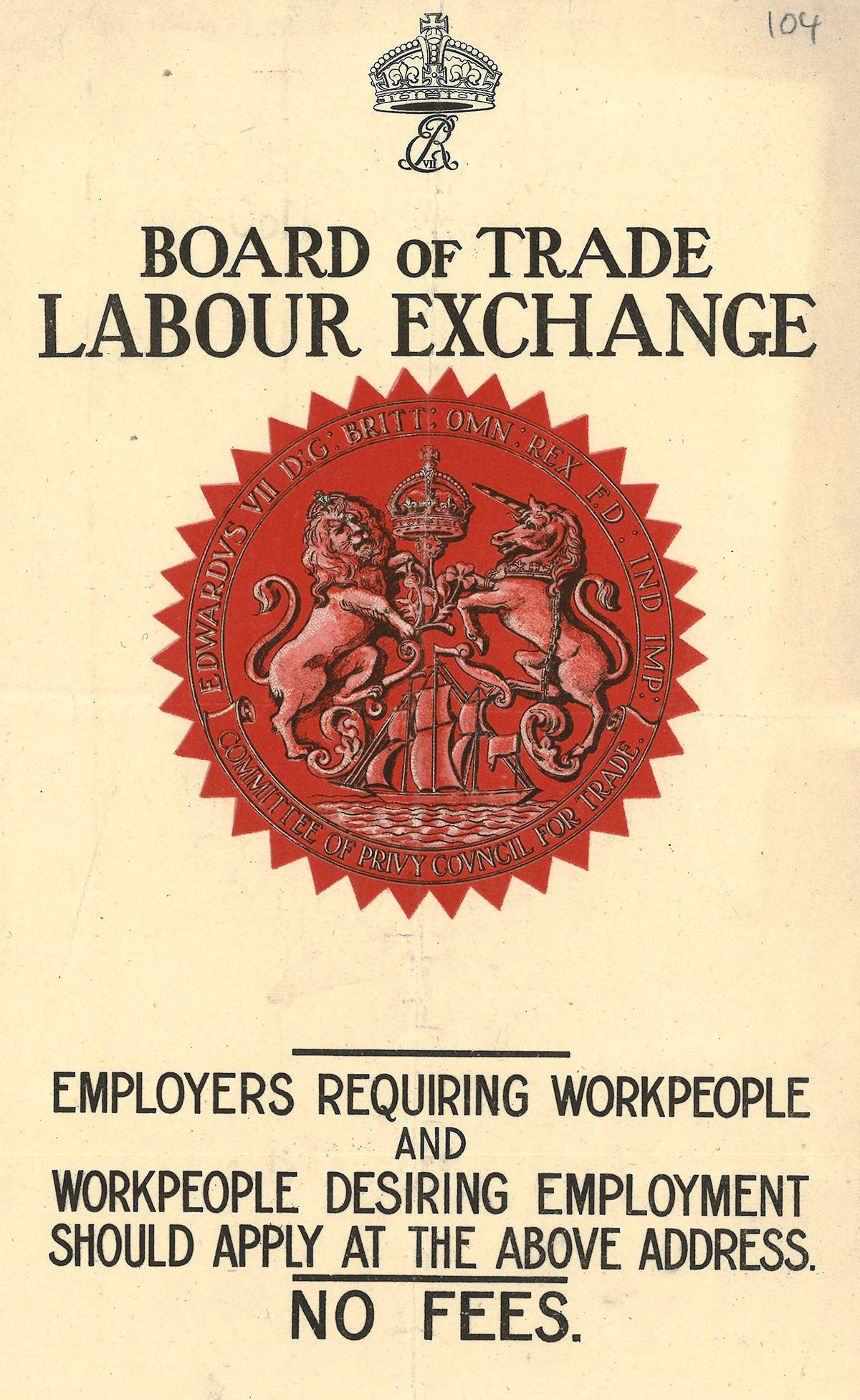 Flyer, Labour Exchange, 1911