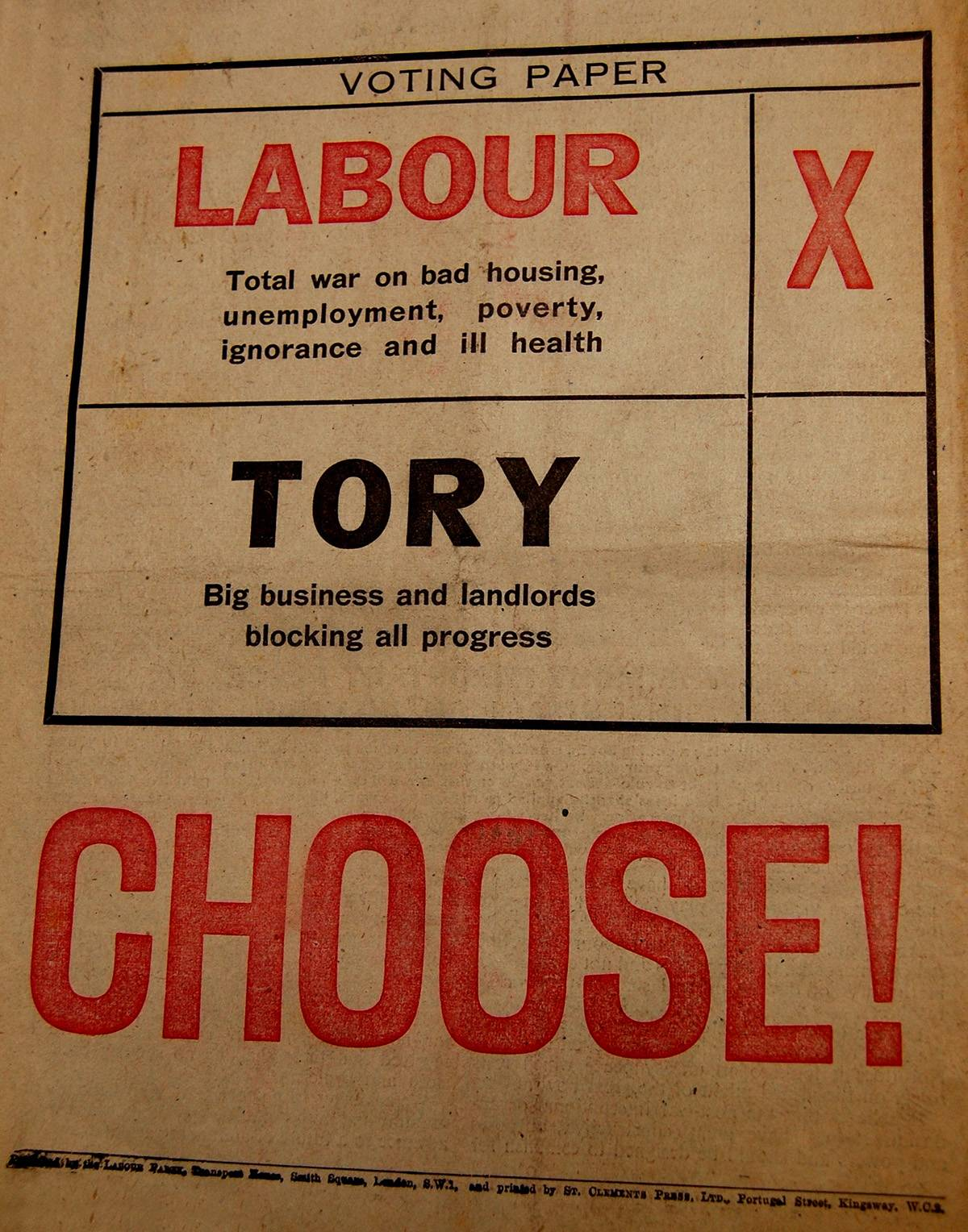 Labour Party Campaign Leaflet, 1945